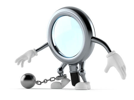Magnifying glass character with prison ball isolated on white background. 3d illustration Standard-Bild - 119607577