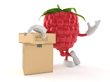 Raspberry character with stack of boxes isolated on white background. 3d illustration Reklamní fotografie