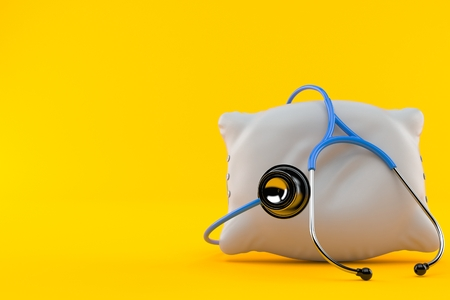 Pillow with stethoscope isolated on orange background. 3d illustration
