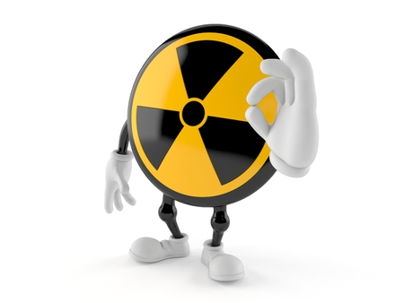 Radioactive character with ok gesture isolated on white background. 3d illustration Imagens - 119607583