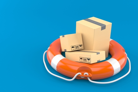 Package with life buoy isolated on blue background. 3d illustration
