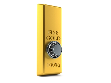 Gold ingot with combination lock isolated on white background. 3d illustration