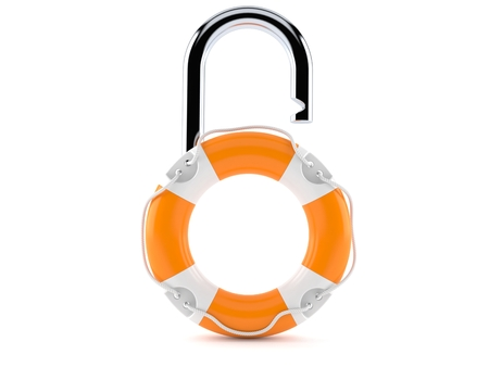 Life buoy with padlock isolated on white background. 3d illustration