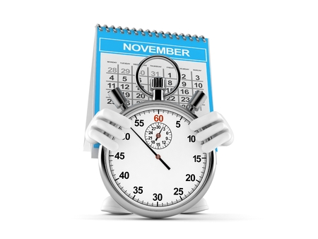Calendar character with stopwatch isolated on white background. 3d illustration Imagens