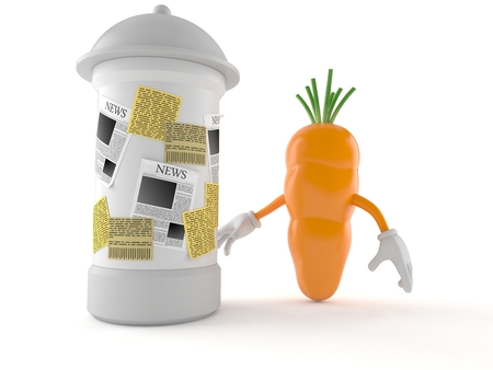 Carrot character with advertising column isolated on white background. 3d illustration