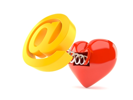 E-mail symbol with heart isolated on white background. 3d illustration Banco de Imagens