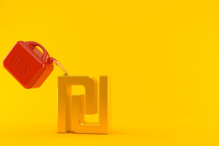 Shekel currency symbol with gasoline can isolated on orange background. 3d illustration