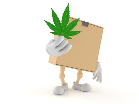 Package character holding cannabis leaf isolated on white background. 3d illustration Stock Photo