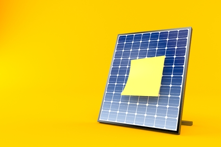 Photovoltaic panel with blank yellow sticker isolated on orange background. 3d illustration Stock Photo