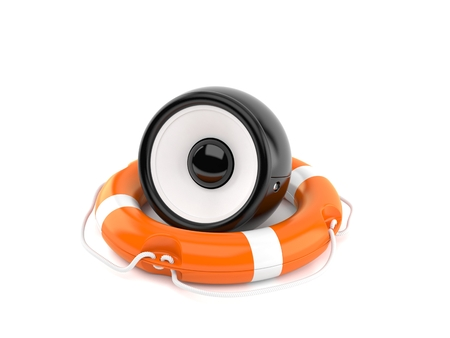 Audio speaker inside life buoy isolated on white background. 3d illustration