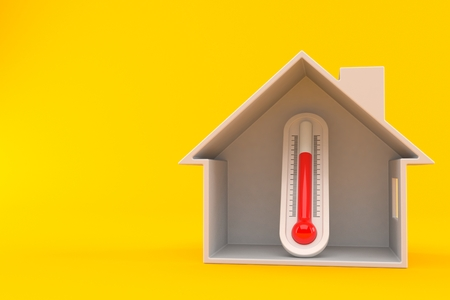 Thermometer inside house cross-section isolated on orange background. 3d illustration