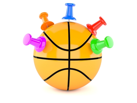 Basketball ball with thumbtacks isolated on white background. 3d illustration Reklamní fotografie