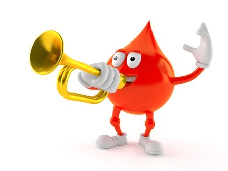 Blood drop character playing the trumpet isolated on white background. 3d illustration Stock Photo
