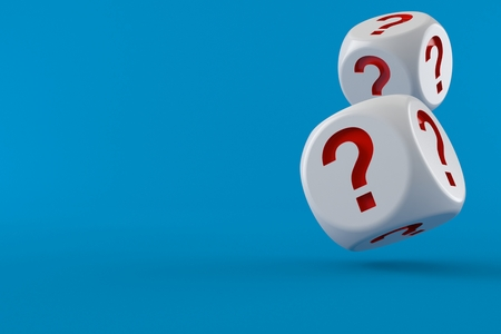Dice with question mark isolated on blue background. 3d illustration