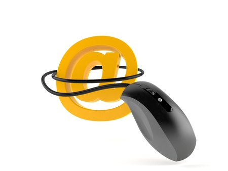 E-mail symbol with computer mouse isolated on white background. 3d illustration