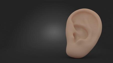 Ear on gray background. 3d illustration