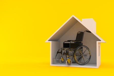 Wheelchair inside house cross section isolated on orange background. 3d illustration 스톡 콘텐츠