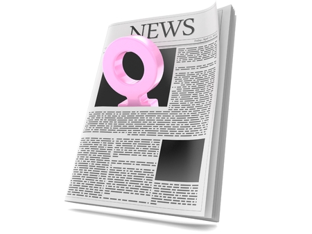 Female gender symbol inside newspaper isolated on white background. 3d illustration 스톡 콘텐츠
