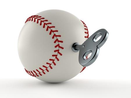 Baseball ball with clockwork key isolated on white background. 3d illustration