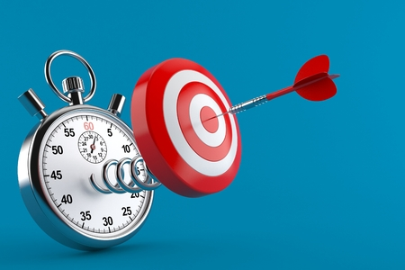 Bull's eye with stopwatch isolated on blue background. 3d illustration Banque d'images