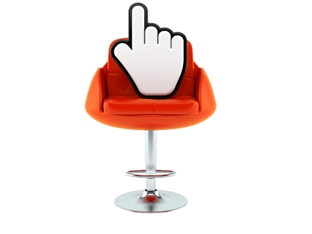Cursor on barbershop chair isolated on white background. 3d illustration
