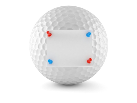 Golf ball with note isolated on white background. 3d illustration