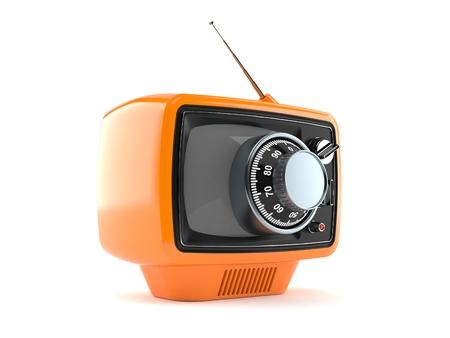 Alter Fernseher mit Zahlenschloss isoliert auf weißem Hintergrund. 3D-Darstellung Standard-Bild