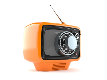 Vecchia TV con serratura a combinazione isolata su sfondo bianco. illustrazione 3D Archivio Fotografico