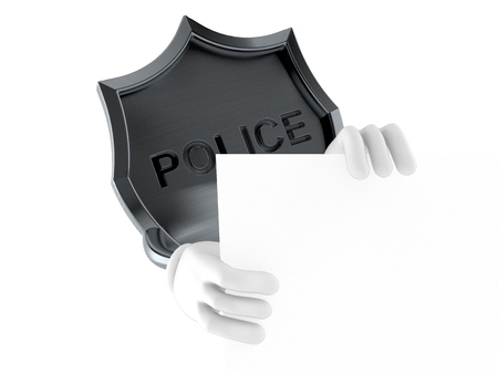 Police badge character behind wall isolated on white background. 3d illustration