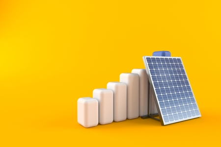 Photovoltaic panel with chart isolated on orange background. 3d illustration