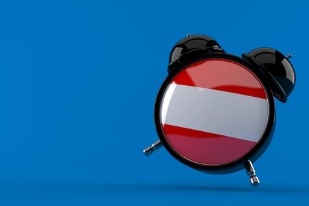 Alarm clock with austrian flag isolated on blue background. 3d illustration Reklamní fotografie