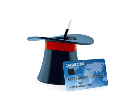 Magic hat with credit card isolated on white background. 3d illustration Imagens - 120558614