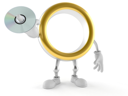 Wedding ring character holding cd disc isolated on white background. 3d illustration