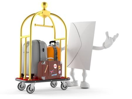 Envelope character with hotel luggage cart isolated on white background. 3d illustration