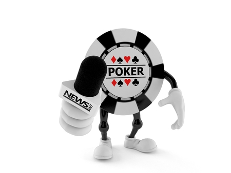 Gambling chip character holding interview microphone isolated on white background. 3d illustration