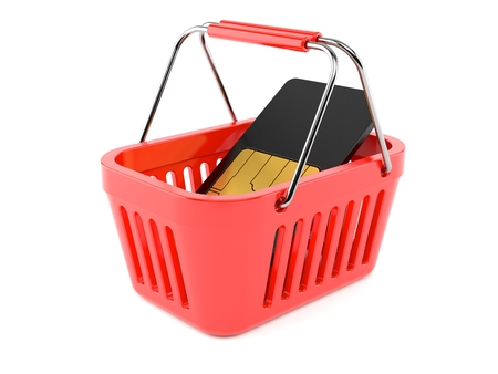 SIM card inside shopping basket isolated on white background. 3d illustration