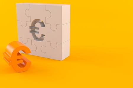 Euro with puzzle part isolated on orange background. 3d illustration