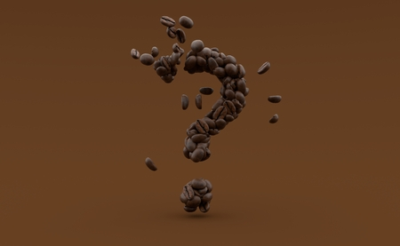 Coffee seeds in question mark shape isolated on brown background. 3d illustration