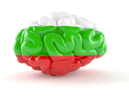 Brain with bulgarian flag isolated on white background. 3d illustration