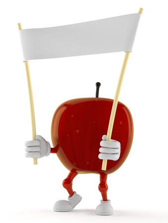 Apple character holding blank banner isolated on white background. 3d illustration