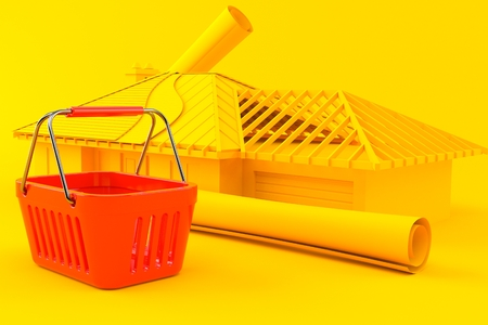 House development background with shopping basket in orange color. 3d illustration