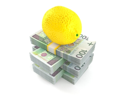 Lemon on stack of money isolated on white background. 3d illustration