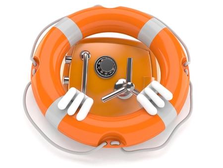 Safe character inside life buoy isolated on white background. 3d illustration Stock Photo
