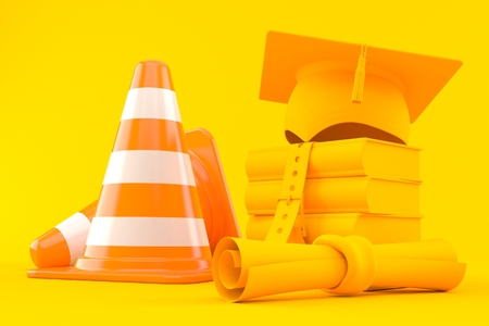Education background with traffic cone in orange color. 3d illustration Imagens