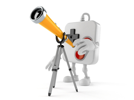 Gamepad character looking through a telescope. 3d illustration