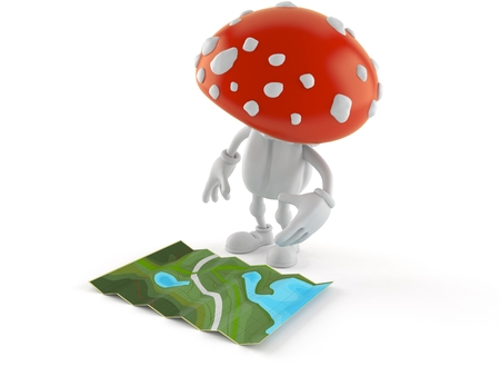 Toadstool character looking at map isolated on white background. 3d illustration Imagens
