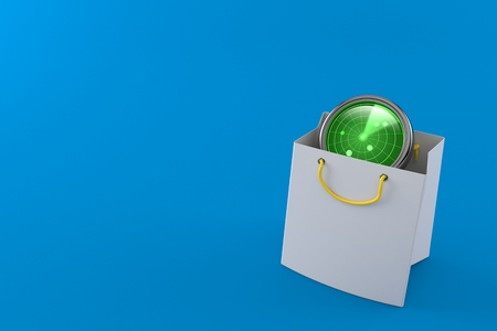 Radar inside shopping bag isolated on blue background. 3d illustration