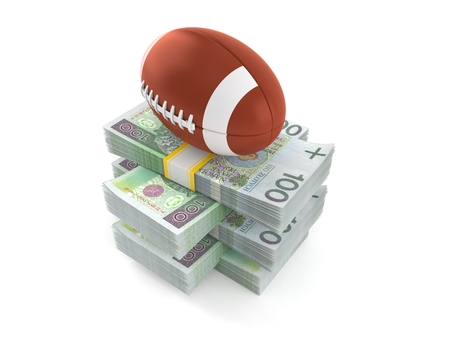Rugby ball on stack of money isolated on white background. 3d illustration