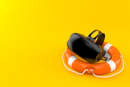VR headset inside life buoy isolated on orange background. 3d illustration