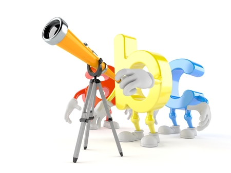 ABC character looking through a telescope. 3d illustration
